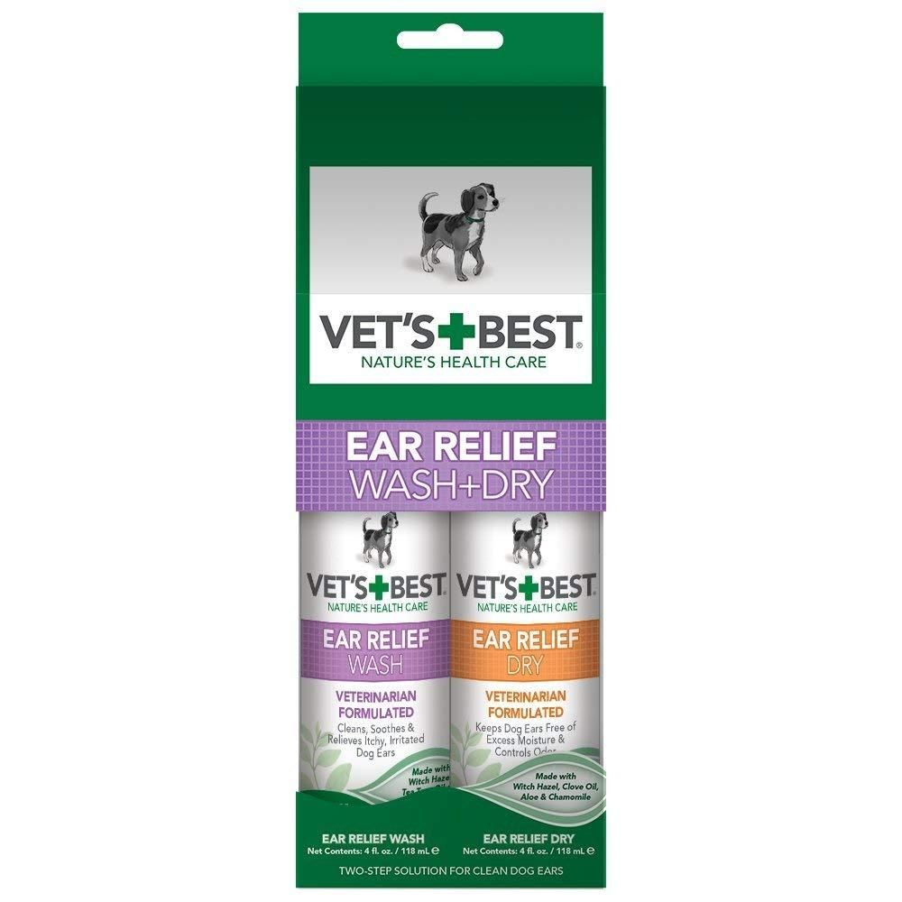 Vet's Best EAR RELIEF WASH & DRY 2PACK for (Dogs) Dog
