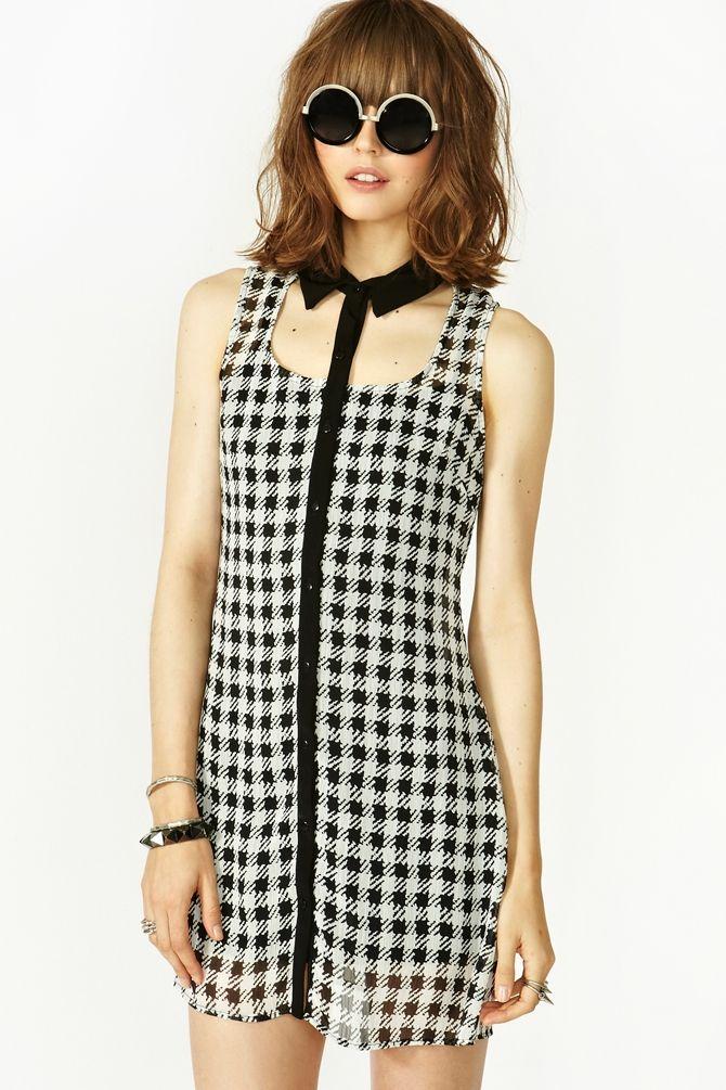 Houndstooth Cutout Dress