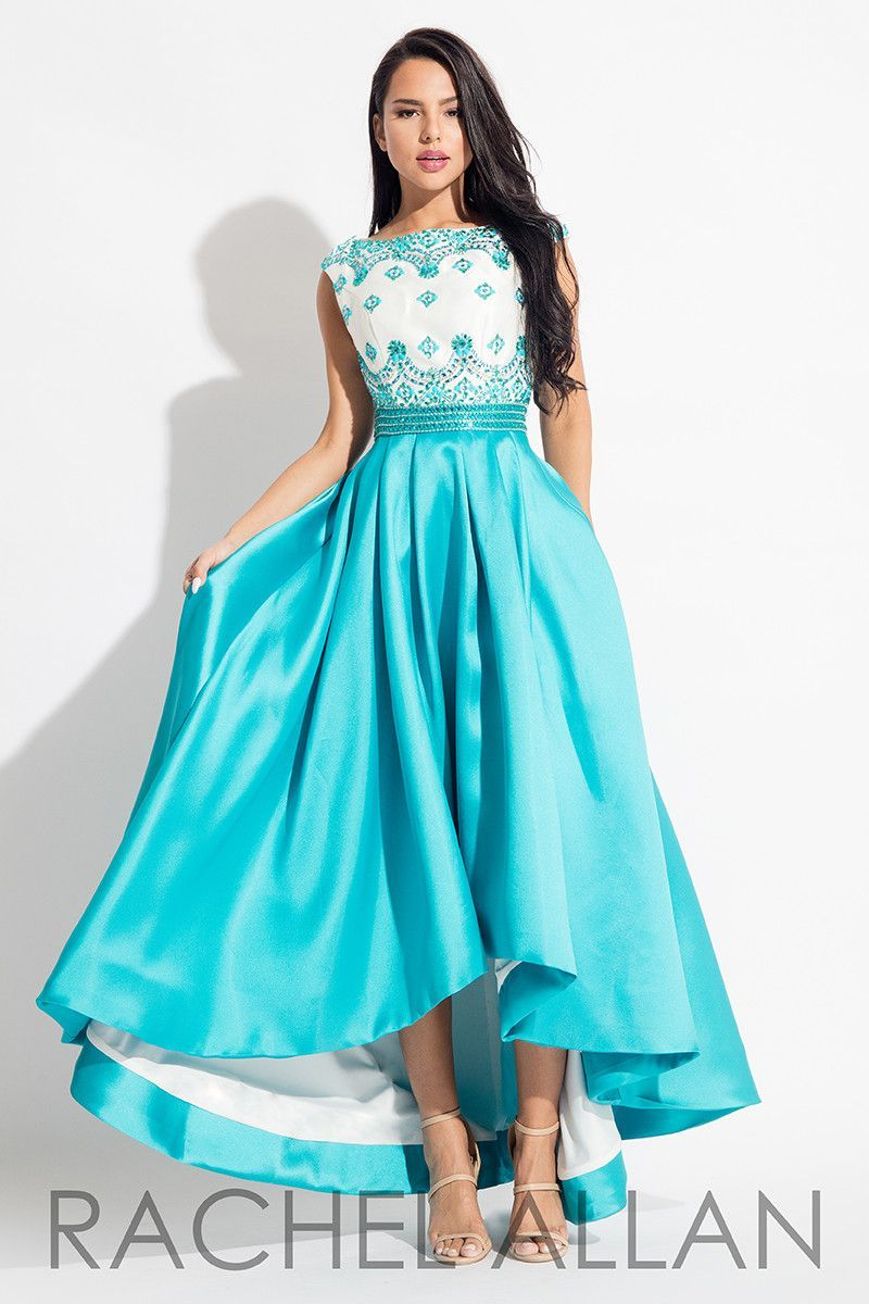 Rachel allan whiteturquoise prom dress turquoise prom