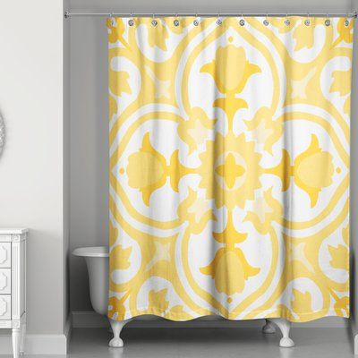 Charlton Home Malpass Tile Single Shower Curtain Colour Yellow