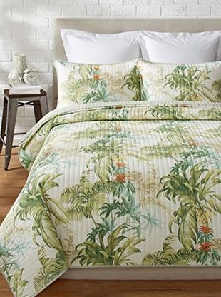 Tommy Bahama Rainforest Tropical Prewashed Quilt Set Green Multi