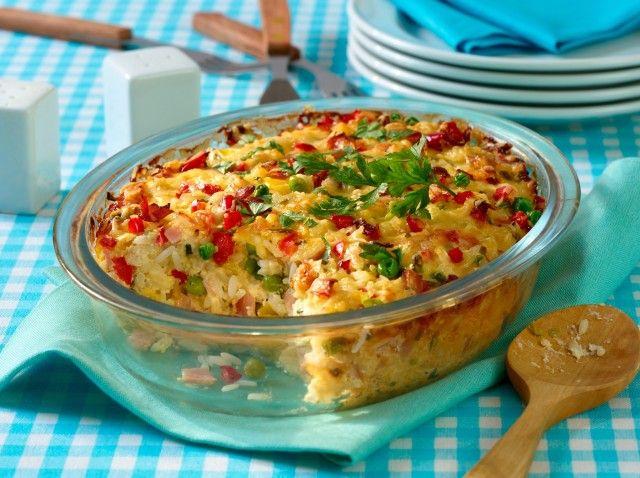So einfach, so köstlich: Reisauflauf mit Schinken & Erbsen #ricedcauliflower