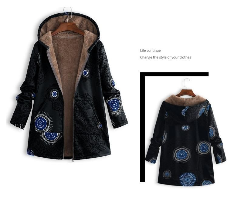 Casual Outwear Winter Warm Floral Coat 11