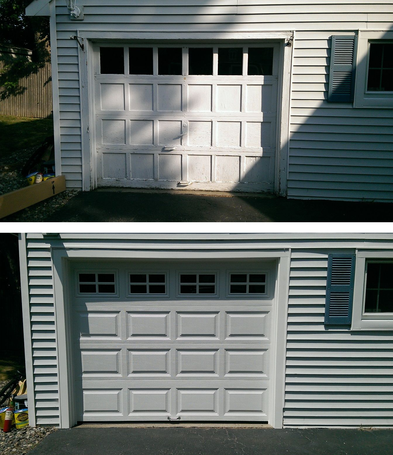 Old Wood Recessed Panel Door Replaced With Clopay 4050 Raised Panel Steel Insulated Garage Door In White Wi House Exterior Overhead Door Garage Door Insulation
