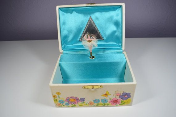 Vintage Ballerina Jewelry Box Musical Wind Up Love Story Theme Blue