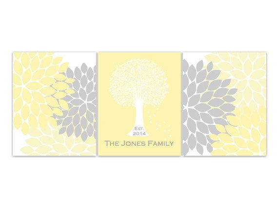 Home Decor Wall Art, DIGITAL DOWNLOAD Custom Family Tree Established Print, Yellow Grey Home Decor, Wedding Gift- HOME82
