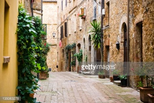 Italian Village Alley With Doors And Plants Tuscany Stock Photo ...