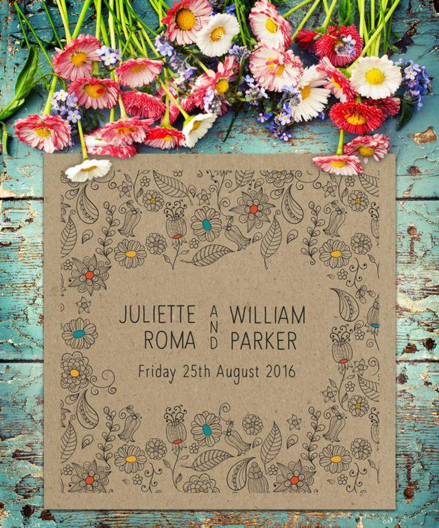 Creative Ideas Leicester: Floral Illustrated Wedding Invitation Suite On Kraft Paper