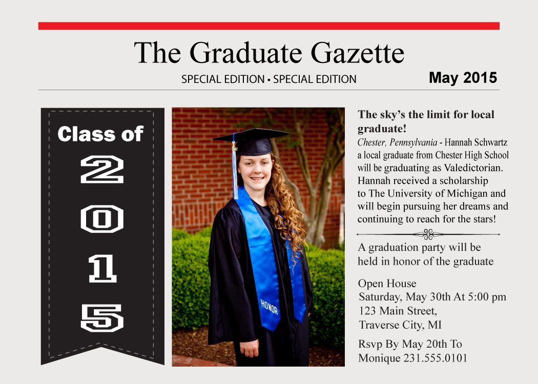 Newspaper Graduation Announcements | Newspaper, Graduation cards and ...
