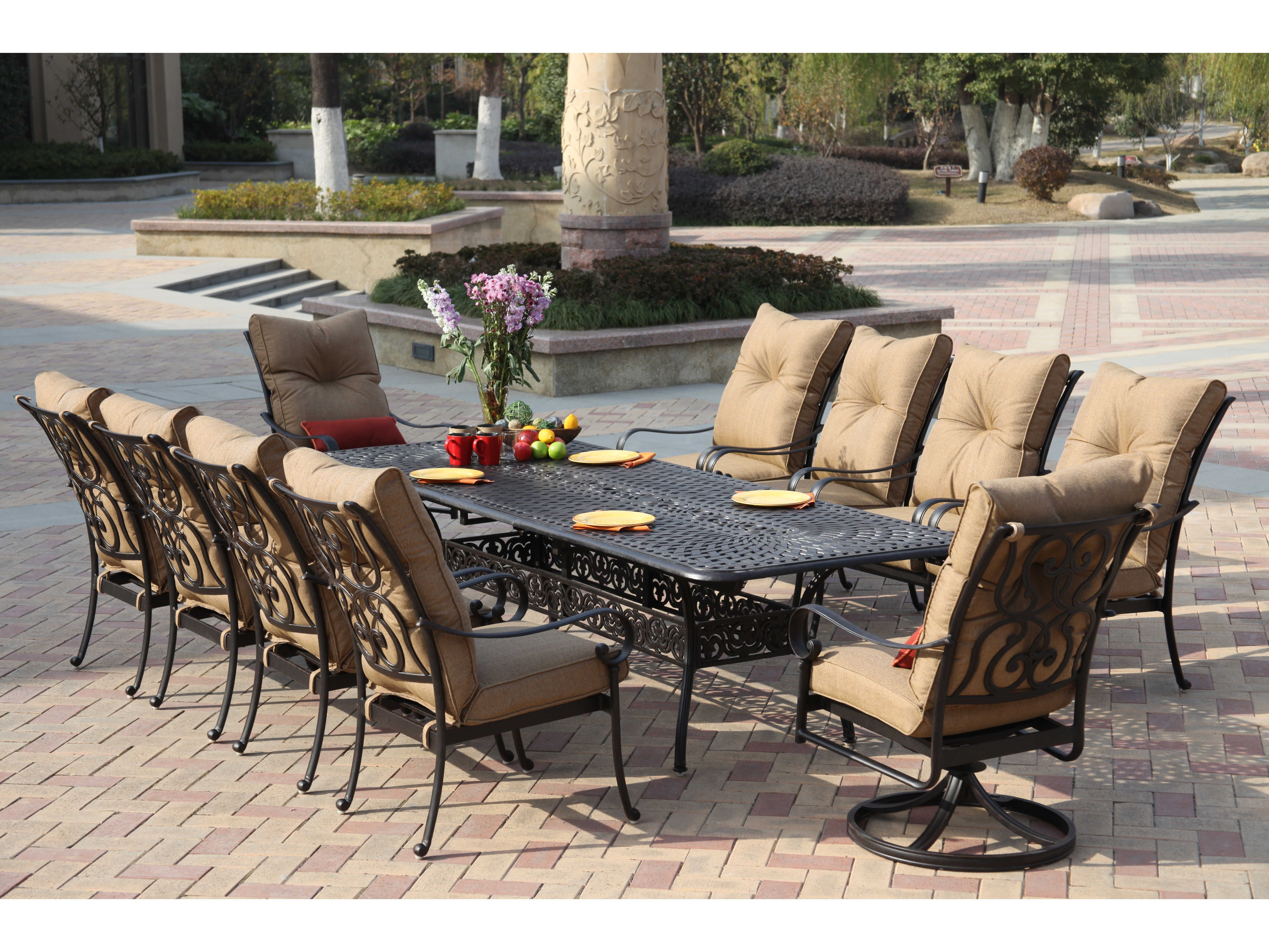 darlee outdoor living santa anita antique bronze cast aluminum dining set modern patio furniture patio furniture sets outdoor dining room