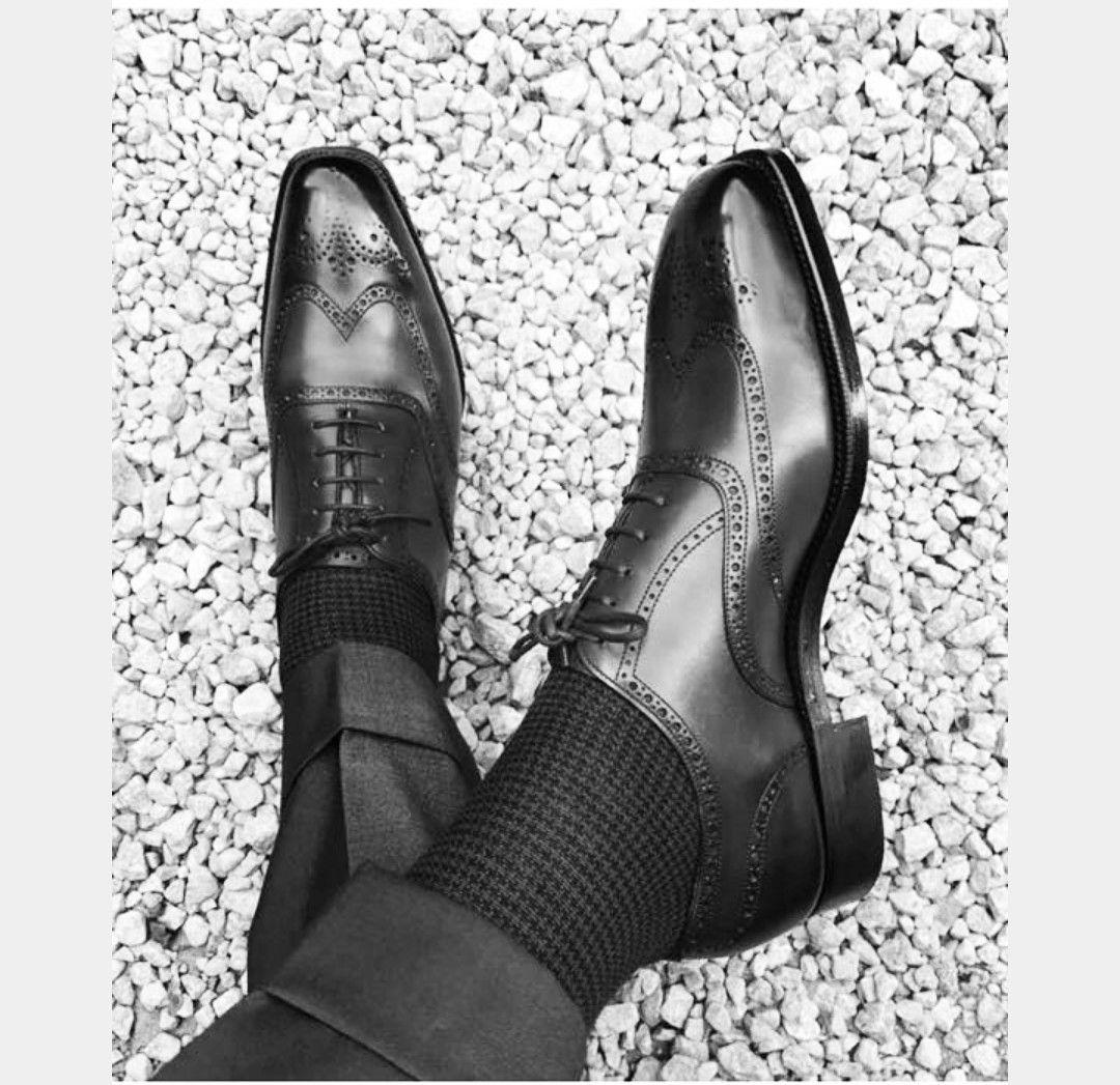 Handmade Men Two Tone Wing Tip Brogue Formal Shoes Men Black Dress Shoes Mens Black Dress Shoes Black Shoes Men Leather Shoes Men [ 1047 x 1080 Pixel ]