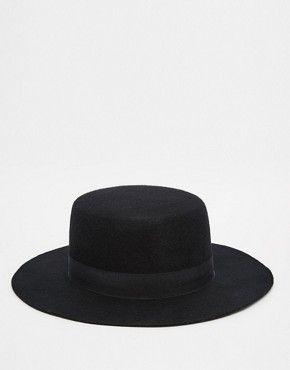 510099770b3 ASOS Flat Top Hat In Black Felt With Wide Brim