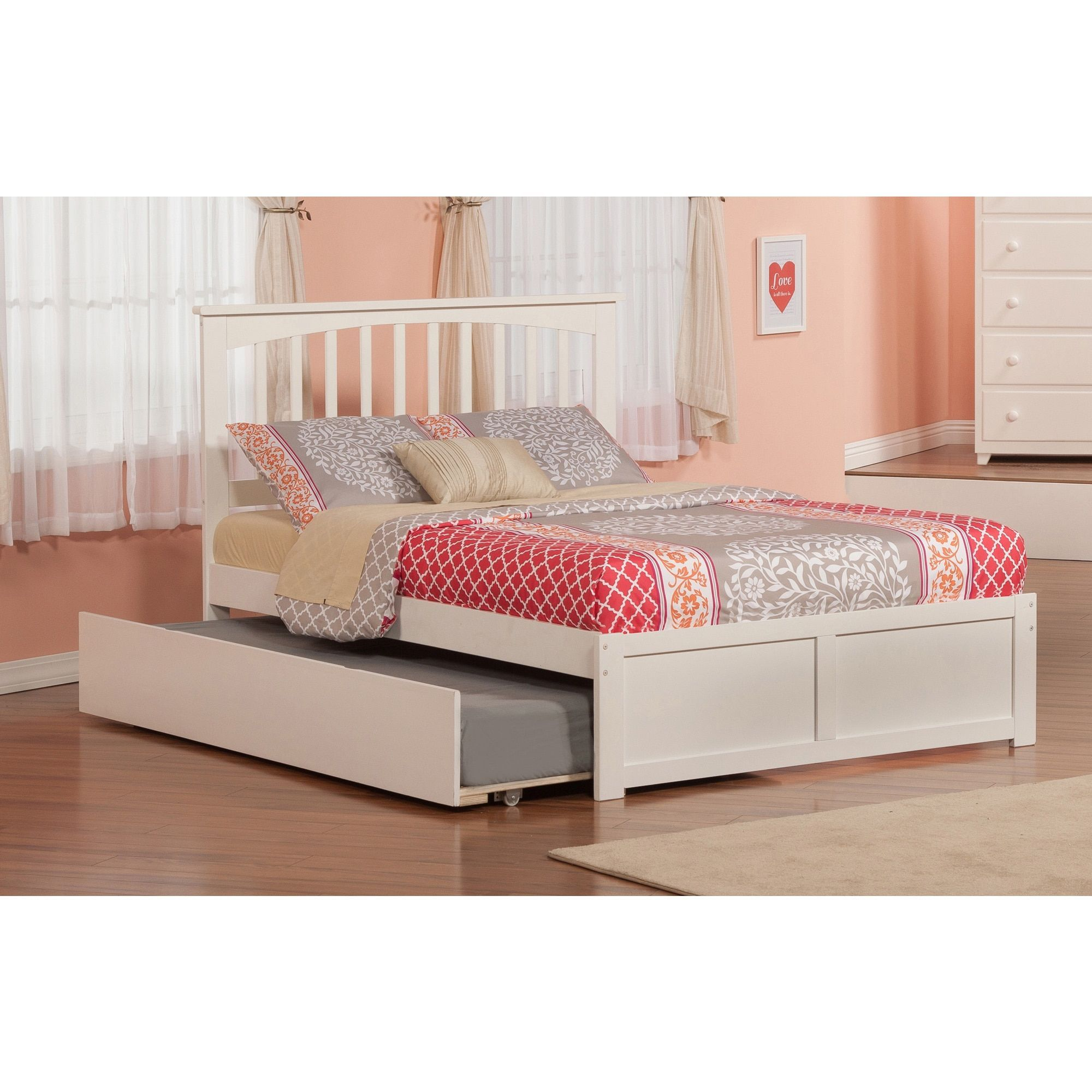 Mission Full Platform Bed with Flat Panel Foot Board and