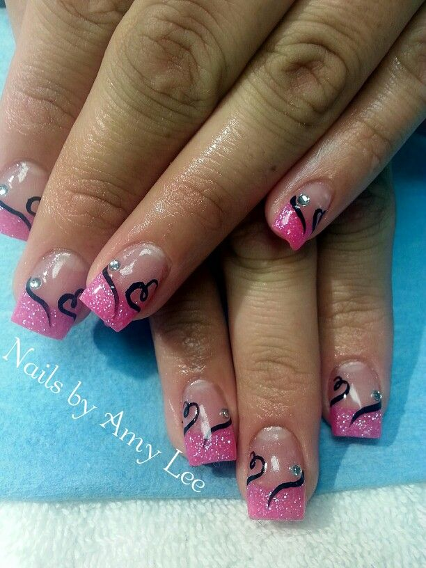 Valentines Day Acrylic Nails Bright Pink With Heart Designs Nail