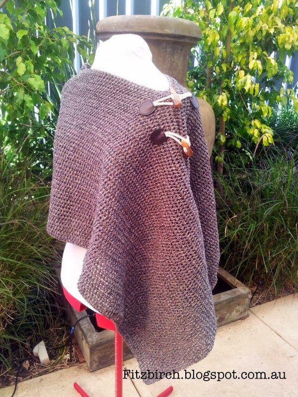 FitzBirch Crafts: Asymmetrical Easy Crochet Poncho | Crochet~Shrugs ...
