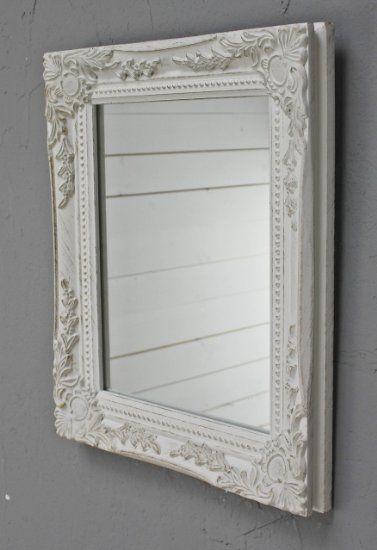 Kleiner Spiegel Mit Patina Barock Rahmen In Weiß Antik Aus Holz Landhaus  Wandspiegel Badspiegel (Bei