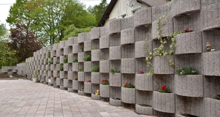 Pflanzringe Beton pflanzringe beton setzen gartengestaltung grau wellen stützmauer