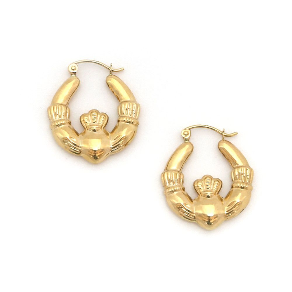 "14k Yellow Gold 4mm Claddagh Hoop Earrings - 0.8"" (20mm)"