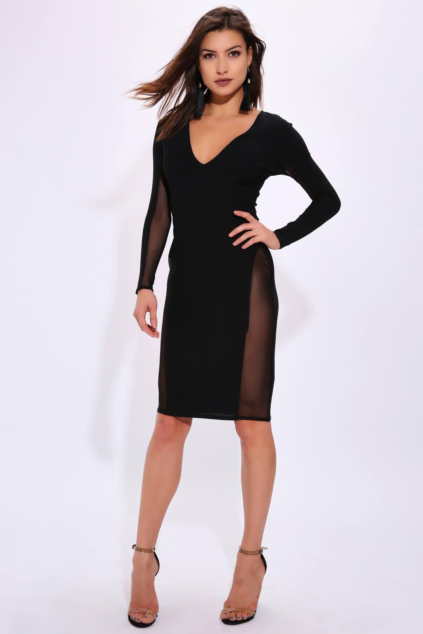 6fea30e169e68 Black Plunge Long Sheer Sleeve Bodycon Midi Dress | Products ...
