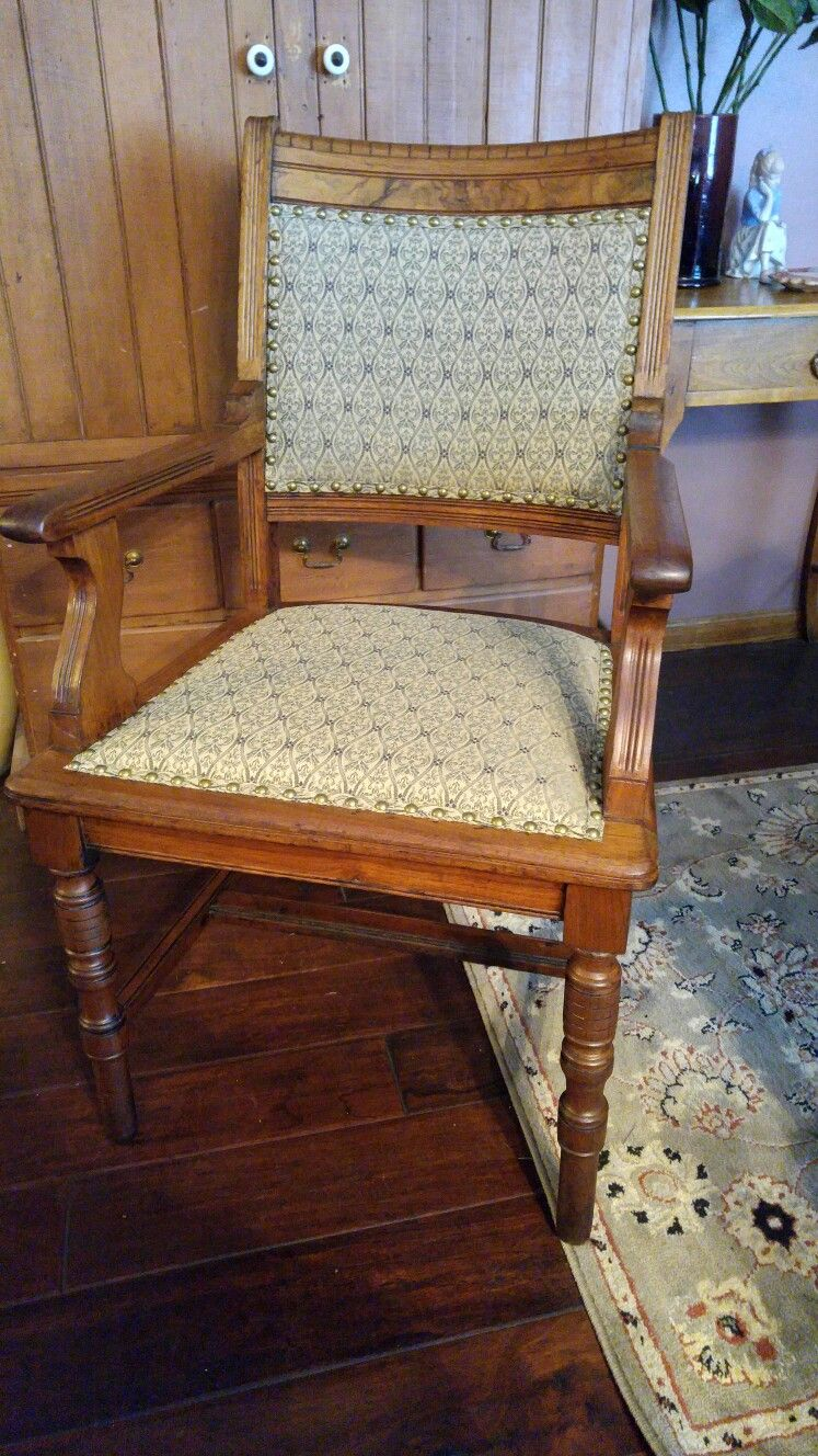 Antique Cane Chair Made Into An Upholstered Chair