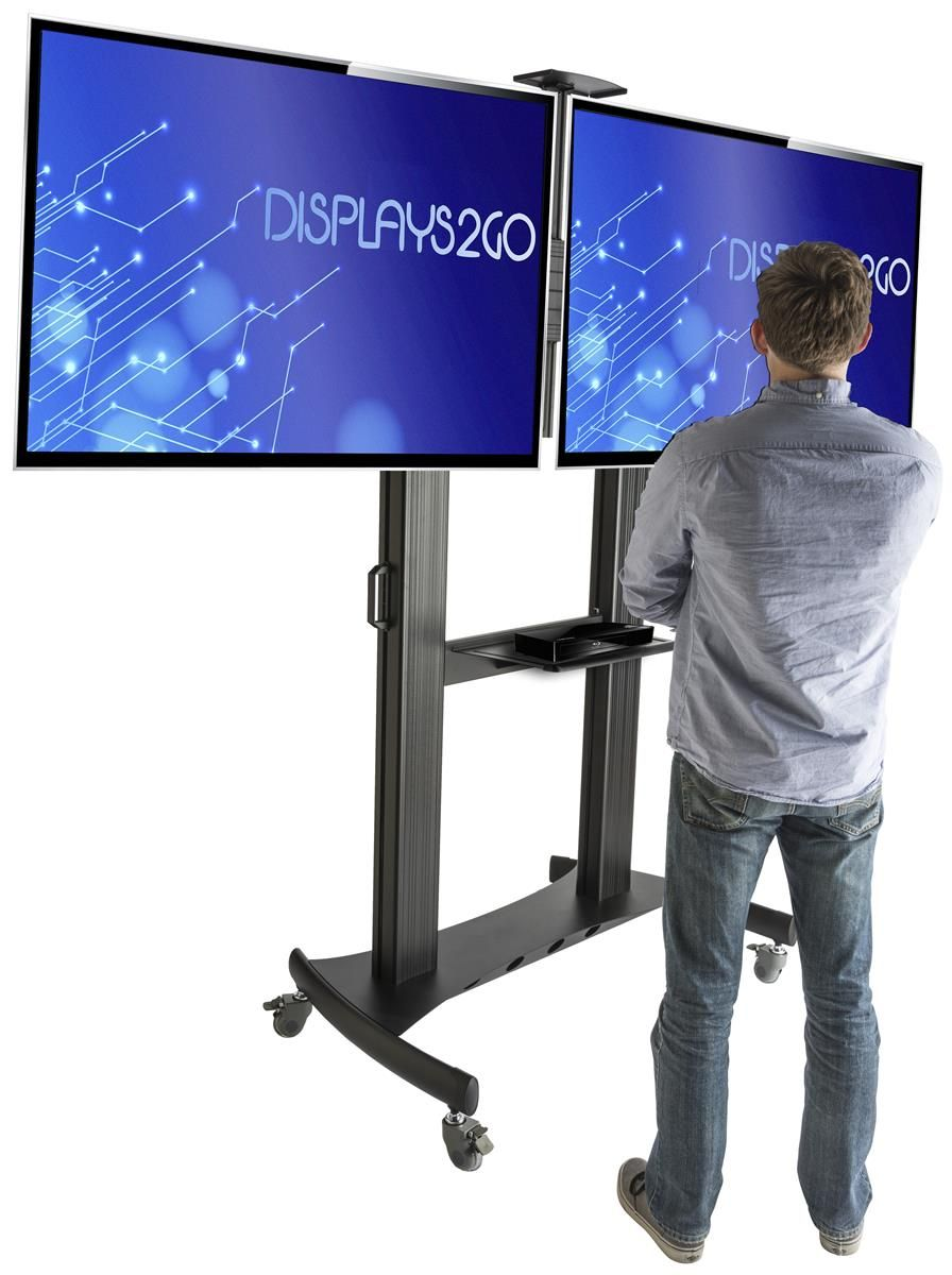 Dual Tv Stand Fits 2 40 60 Screens Side By Side Height