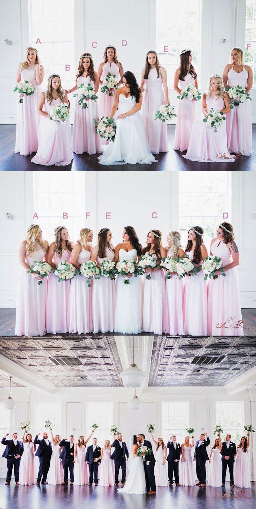 Mismatched pink chiffon long aline simple bridesmaid dresses