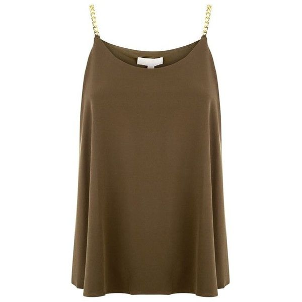 MICHAEL Michael Kors Chain Strap Layer Jersey Top (€105) ❤ liked on Polyvore featuring tops, camisole tops, michael michael kors, brown camisole, brown cami and drapey top