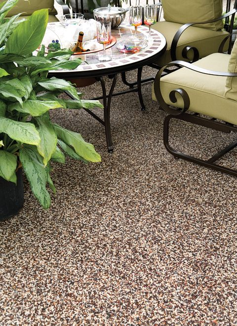 {I Could Use This On Our Screened Porch! Cool!} Nature Stone Covering Over  Existing Concrete Patio Floor.