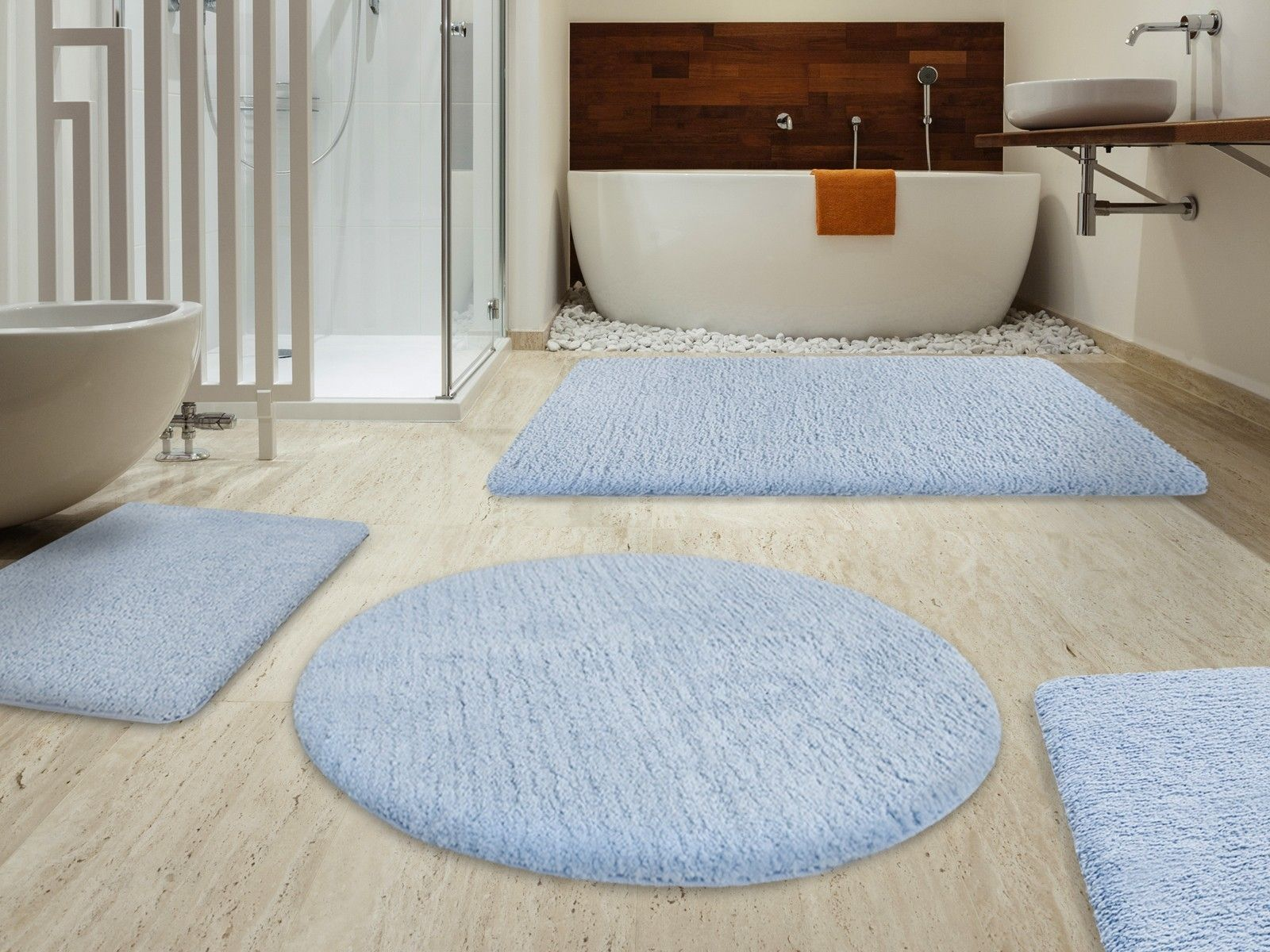 A Beautiful Light Blue Modern Bath Rugs Sets