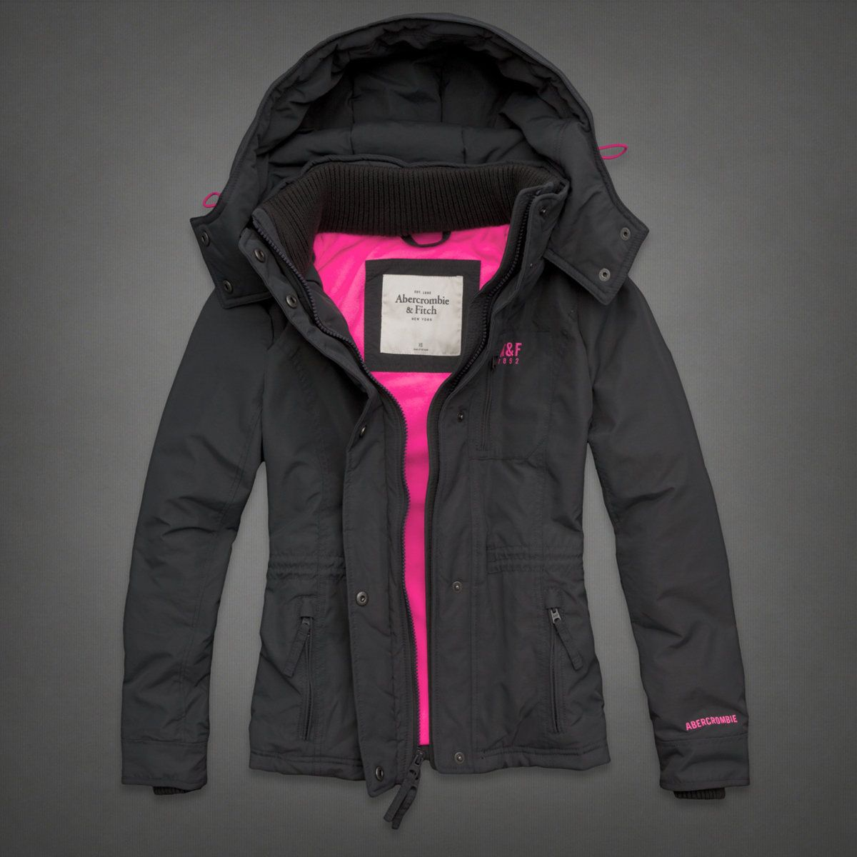 3 3 A Winter Pink Black Abercrombie Warriors Jacket Outerwear Women All Weather Jackets [ 1200 x 1200 Pixel ]
