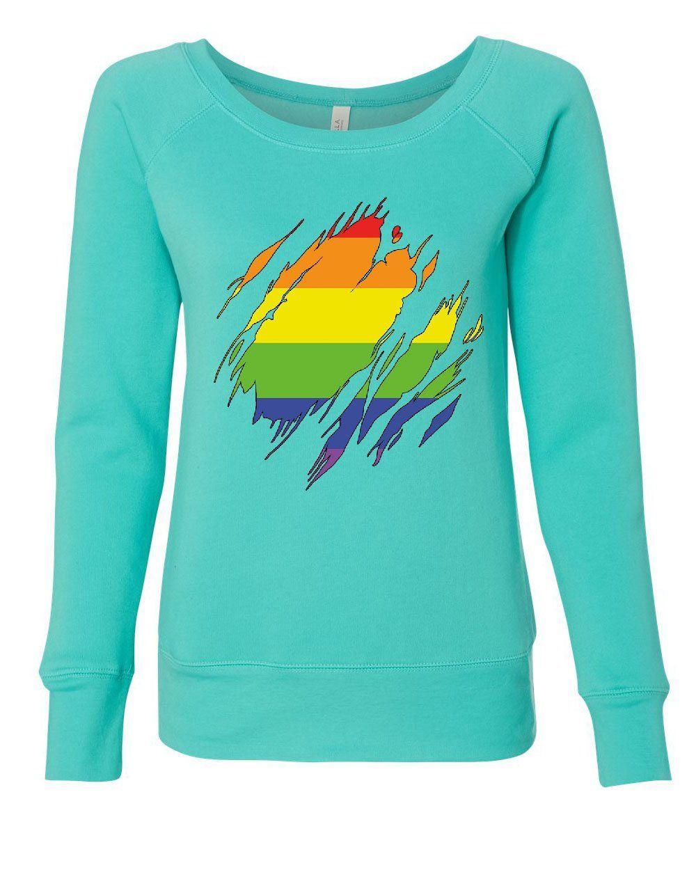 Ripped Gay Pride Rainbow Flag Sweatshirt LGBTQ Love Wins