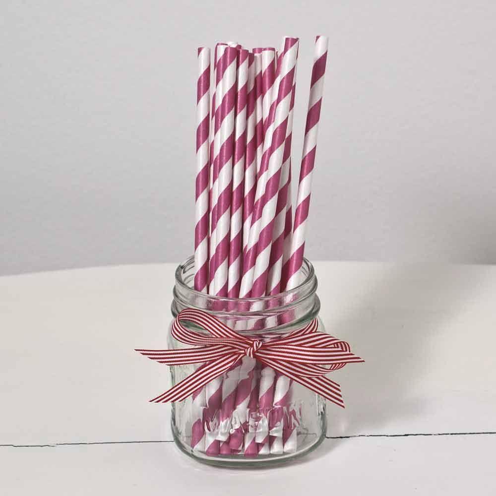 striped straws in purple and white