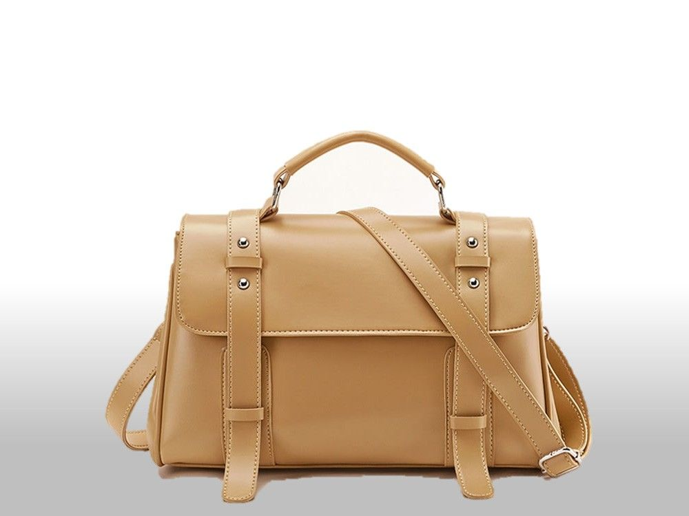 """Oxford Strap Accent Bag - Camel"" by Just Star on www.wallbag.com"