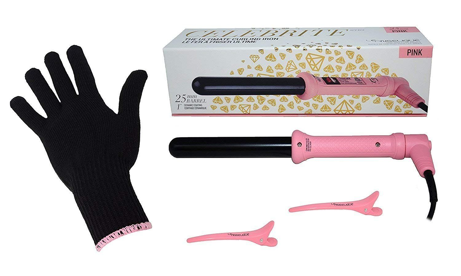 Le Angelique 1 Inch Curling Iron Wand With Glove And 2 Clips Set 450f Instant Heat Professional Hair Curler Pink Thanks Curlers Hair Curlers Pink Review