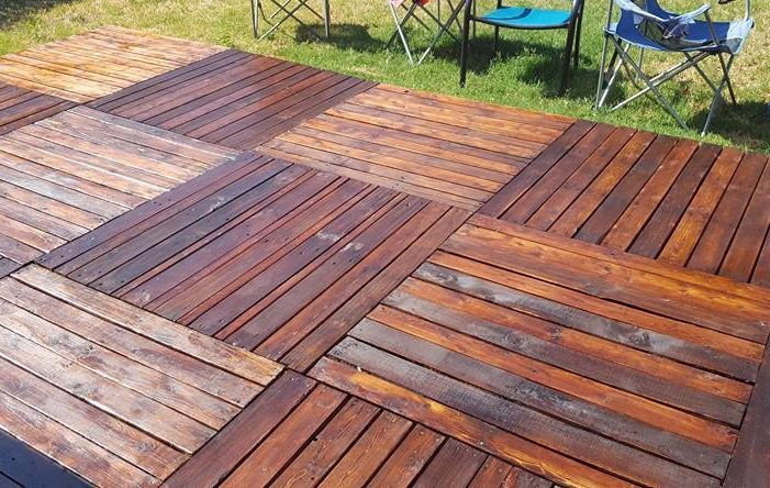 Wood Pallet Deck Stained And Clear Coated Pallet Decking