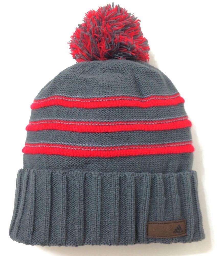 New adidas pom beanie gray red striped winter knit climawarm men women teen adidas  beanie jpg 5df9ec887668