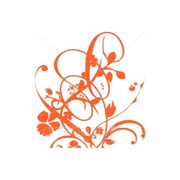 Orange Elaborate Wedding Scroll Flourish Clipart Color