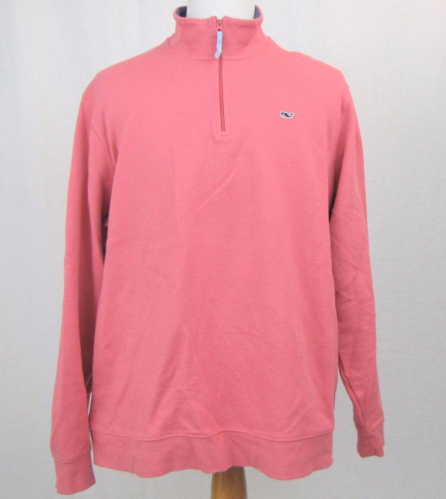Vineyard vines sweater xl pink zip cotton blend whale sweatshirt