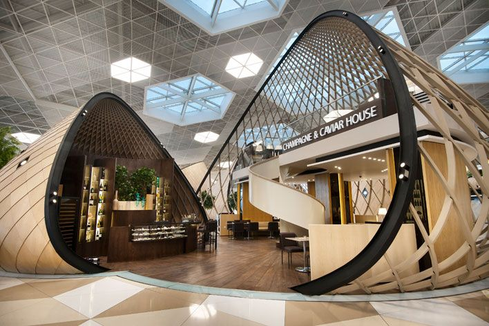 Autoban S New Interior At Baku S Heydar Aliyev International Airport Is A Sleek Departure Interior Architecture Design Architecture Kiosk Design