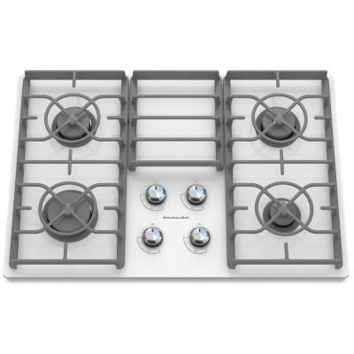 Kitchenaid Architect Series Ii 30 In Gas On Glass Gas Cooktop In White With 4 Burners Including 17000 Btu Professional In 2020 Gas Cooktop Kitchen Aid Ceramic Cooktop