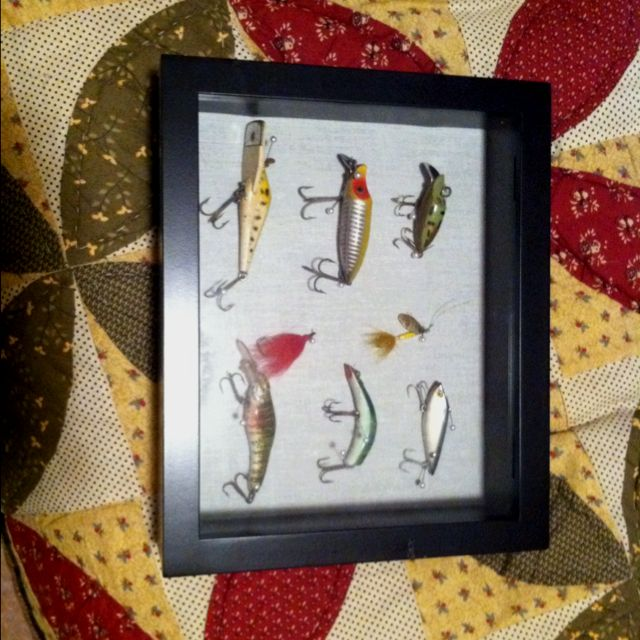 A gift for my husband. Old fishing stuff in a shadow box!
