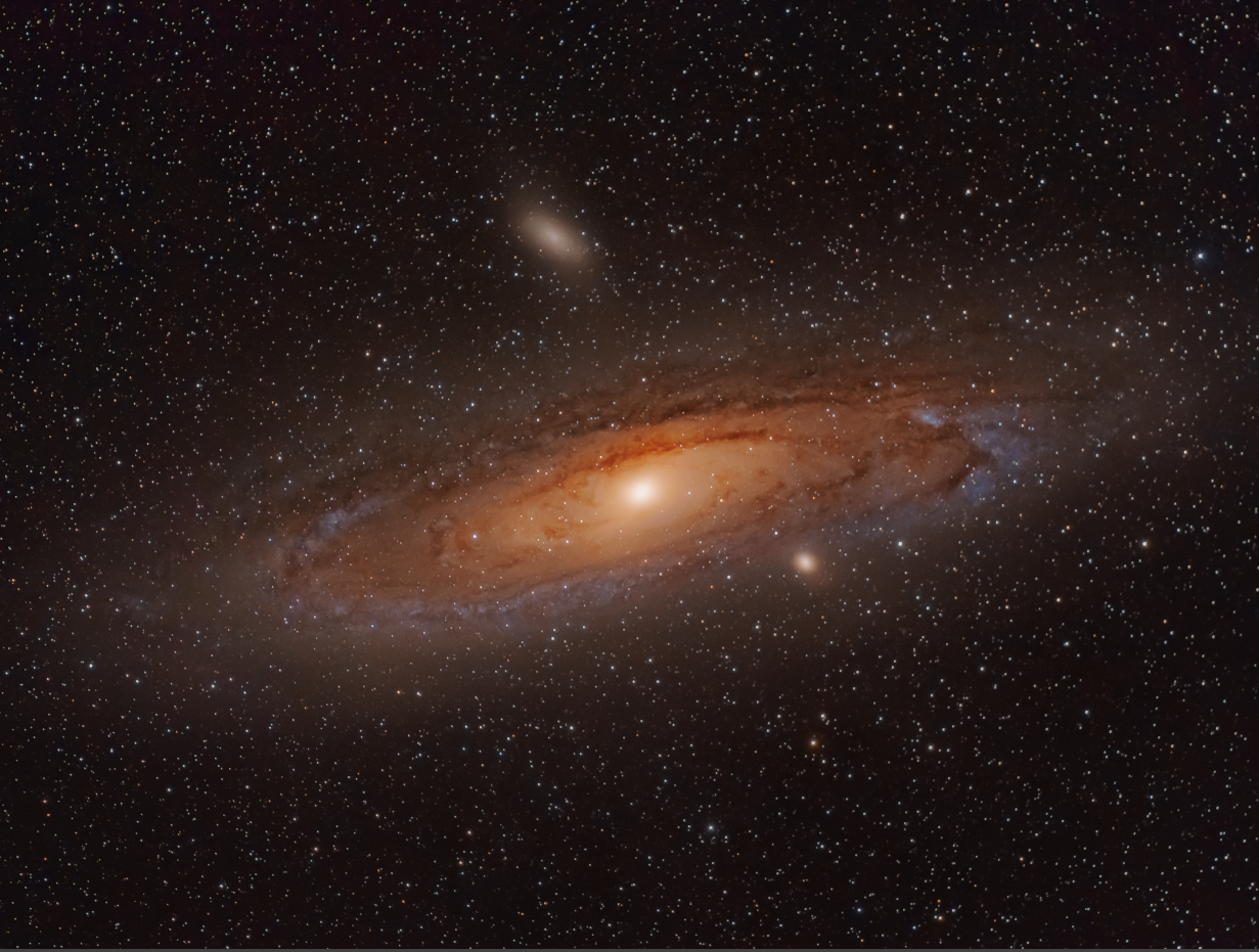 andromeda galaxy through telescope - HD1231×931