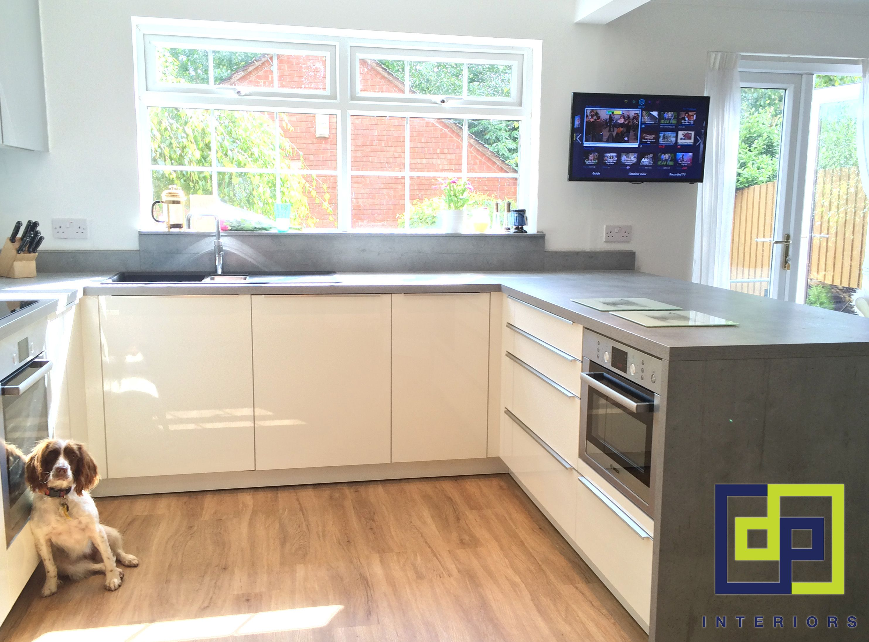 kitchen laminate worktops. cream gloss kitchen with concrete effect laminate worktops  want the dog and