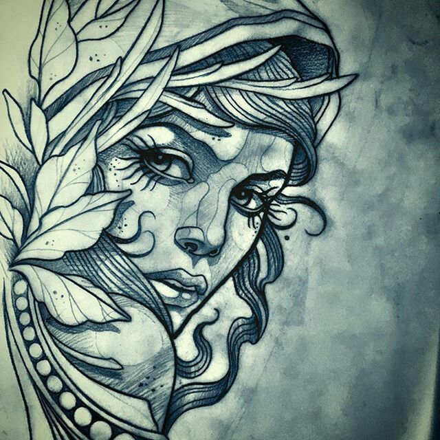 Tattoo Woman Face Design: Tattoo Female