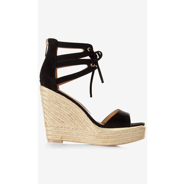 Express Faux Suede Espadrille Lace Up Wedge Sandal ($70) ❤ liked on Polyvore featuring shoes, sandals, black, black platform sandals, black platform shoes, open toe sandals, black lace up sandals and platform espadrilles