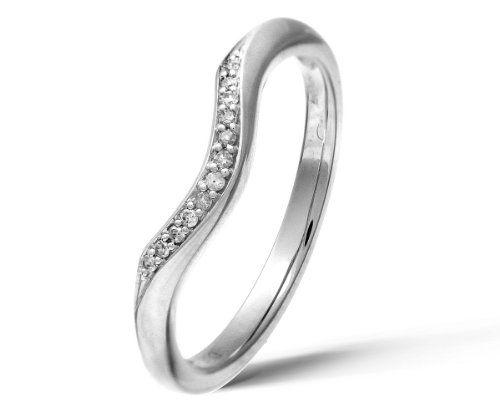 9ct White Gold Diamond Wishbone Eternity Ring Size P Eternity
