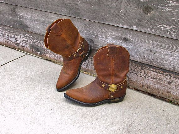 603867818a116b Vintage Harley Davidson Leather Motorcycle Boots Side Harness Womens Size  7.5 Made in USA - Vintage Motorcycle Boots - Brown Leather Boots