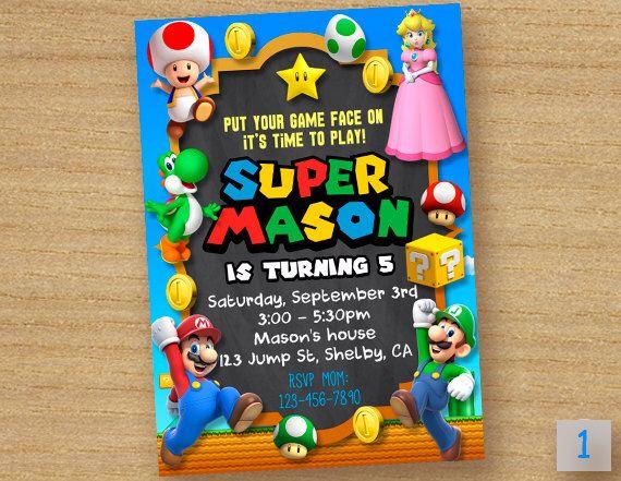 Super Mario Invitation Super Peach Invitation Princess Peach