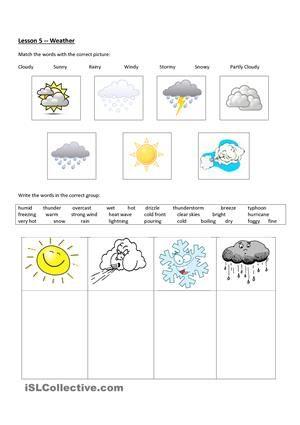 Preschool Weather Teaching Weather Weather Worksheets