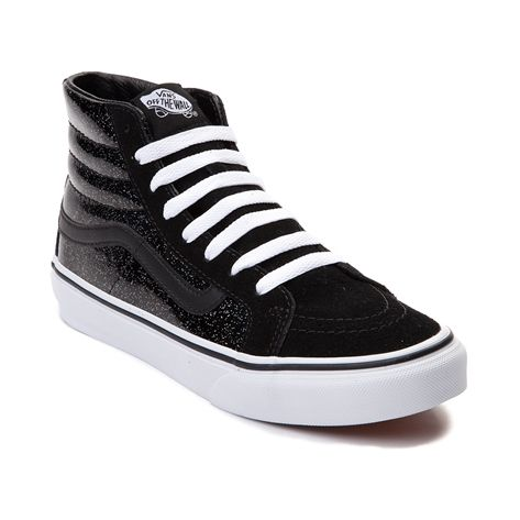 c4ea84df95805a Space out with the epic new Sk8 Hi Slim Patent Galaxy Skate Shoe from Vans!  This Sk8 Hi Slim Sneaker rocks a hi-top design constructed with a glittery  ...